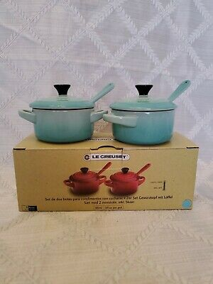 Cool Mint Le Creuset Set Of 2 Condiment Pots With Spoons  New In Box