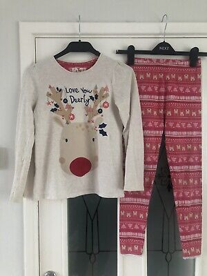 Worn Once TU Girls Christmas Pjs Jeans Age 9-10 Height 134-140cm