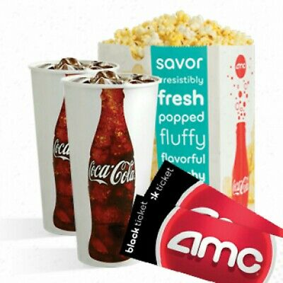 2 AMC THEATRE BLACK MOVIE TICKETS 2 LARGE DRINKS & 1 LARGE POPCORN ! E-Delivery!
