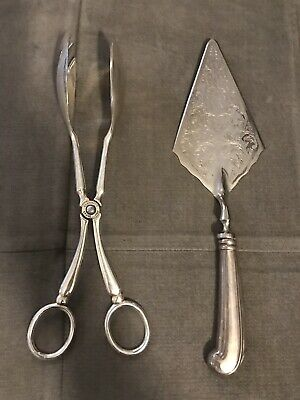 Beautiful Silver Plated Epzinc Tongs ITALY & Raimond Pie Cutter. Preowned
