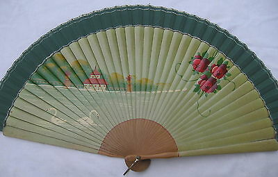 antique ladies folding hand painted scenic SWANS Lake Roses wooden slat fan