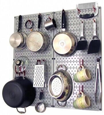 (Gray/Red) - Wall Control Kitchen Pegboard Organiser Pots and Pans Pegboard