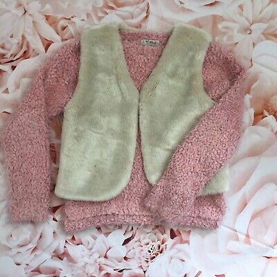 Girls NEXT jumper age 6 pink WHITE STUFF faux fur gilet outfit bundle 6-7 years