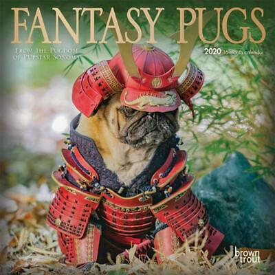 2020 Calendar, Fantasy Pugs 16-Month Mini Wall Calendar NEW by Browntrout