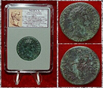 Ancient Roman Empire Coin NERVA Bronze As Aequitas With Scales On Reverse