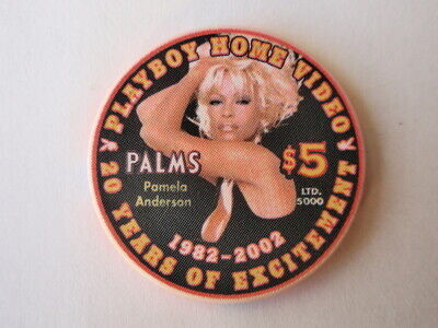 Palms Hotel Casino $5 PLAYBOY 20 Year Pamela Anderson Home Video Chip New / Mint