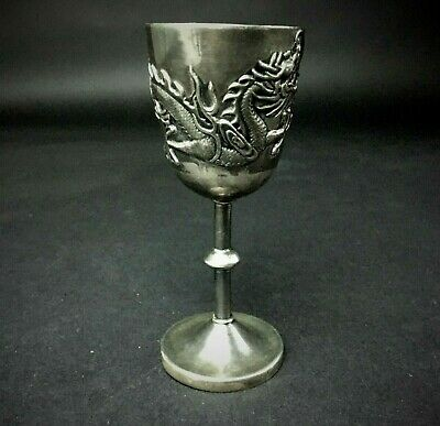 An Old Chinese Carved Silver-Plated Dragon Goblet Marked.