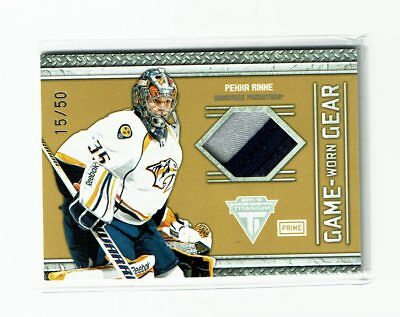2012/13 Titanium Game Worn Gear Pekka Rinne Patch #15/50 Nashville Predators