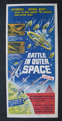 BATTLE IN OUTER SPACE 1960 Rare Australian daybill movie poster UFO alien sci fi