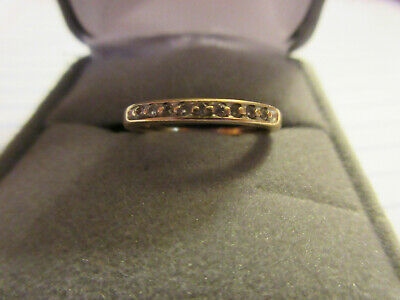 14k Solid Yellow Gold Diamond Wedding Band Ring Channel Set Size 7
