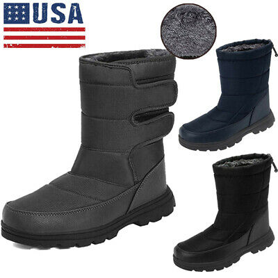 Men's Winter Snow Boots Flat Fur Lined Ankle Booties Non-Slip Warm Walking Shoes