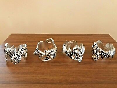Set Of Four Vintage Godinger Silver Napkin Rings - Nautical (2 Sets Available)
