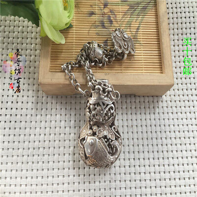 Tibetan silver Old Feng Shui Hollow out Lotus fish sachet Pendant