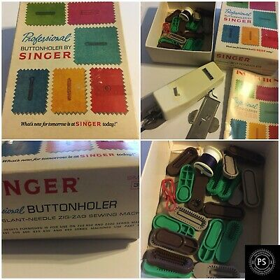 Vintage Professional Singer Sewing Buttonholer in Box Book Lot SKU 004-003