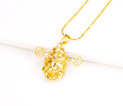 Fashion Yellow Gold Plated God of Wealth Fortune Pig Luck Pendant Chain Necklace