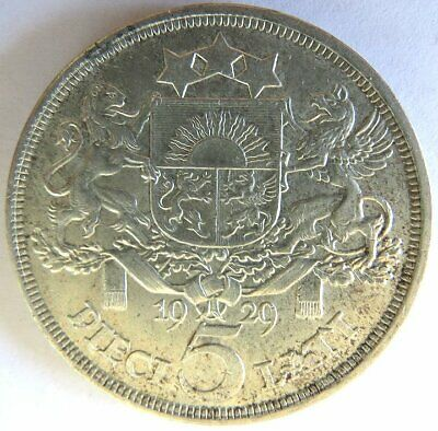 1929 PIECI 5 LATI Large .835 Silver Crown Sized LATVIA Coin