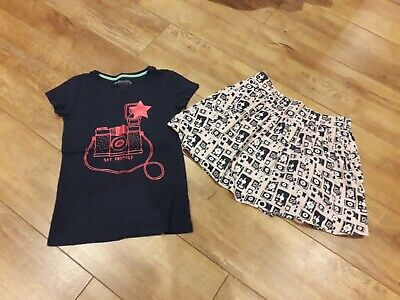 Girls Johnnie B/ Mini Boden top & skirt, navy and pink, 9-10yrs
