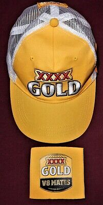 Embroidered XXXX GOLD V8 Supercars CAP with 2 Patchs & V8 Mates STUBBY HOLDER