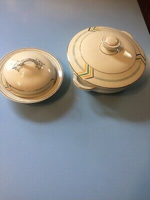 Art Deco Lidded Serving Bowls By Royal Falcon Ware X 2