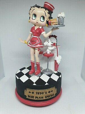 Betty Boop Statue waitress Music Box figurine 1950s Diner blue plate collectible
