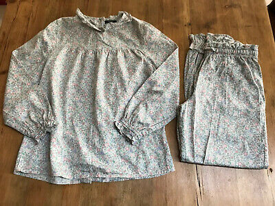 💕 M&S Autograph Girls Floral Cotton Traditional Pyjama Set - Age 9-10 Years
