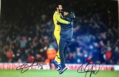 Liverpool FC Iconic Klopp/Alisson Original Hand Signed Running On Pitch Photo