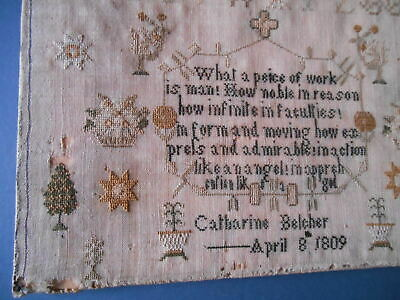 1809 Antique needlework sampler FABULOUS verse in praise of man!!!!!