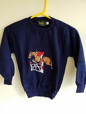Kids Embroidered Sweatshirt 🐴  horse design age 6/7 🐴 navy showjumper limited