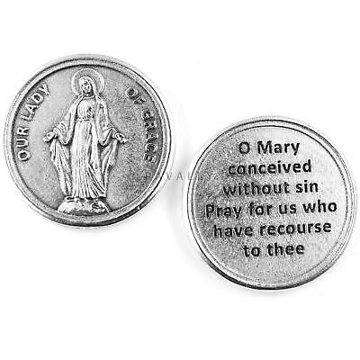 LARGE METAL POCKET PRAYER COIN MARY OUR LADY OF KNOCK TOKEN MEDAL