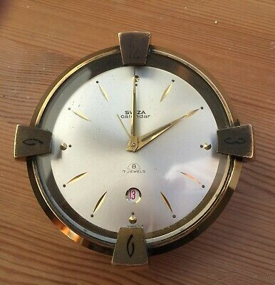 Rare Antique Brass Swiza 7 jewels 8 Day Alarm & Calendar Clock