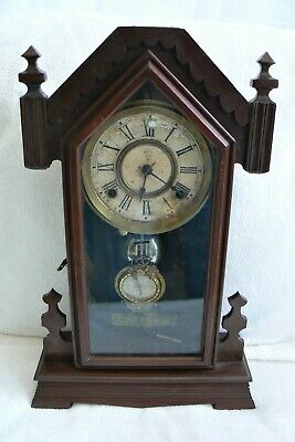 ANSONIA GOTHIC STYLE 8 DAY MANTEL CLOCK - 1890's