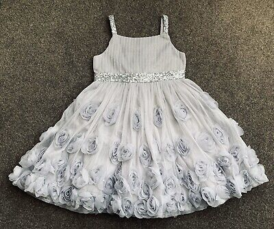 Girls Monsoon Silver with Pink & Purple  Floral Party Dress Age 8 Worn Once