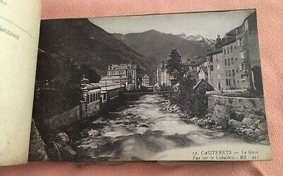 Antique Book of 26 unused Print Etching POSTCARDS France CAUTERETS early 1900s