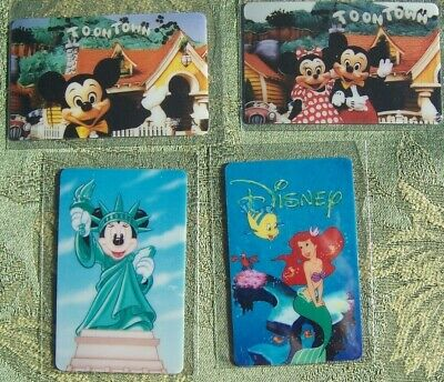 Lot of 4 plastic 1990's Disney cards, blank backs, prototype for phone cards