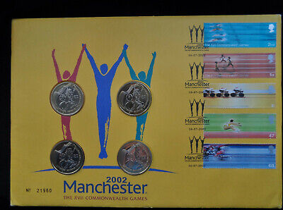 GB 2002 Commonwealth Games 4 x £2 Coin Royal Mint PNC First Day Cover Manchester