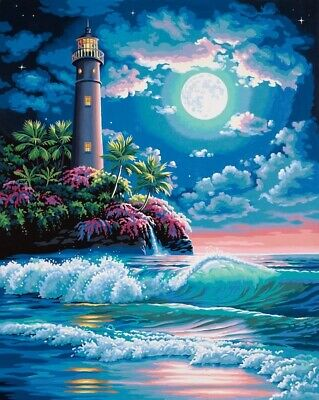 DPW91424_D - *** Paintsworks Paint by Numbers - Lighthouse in Moonlight (Dama