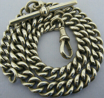 Antique Victorian Solid Sterling Silver Albert Pocket Watch Chain & T-Bar 1894