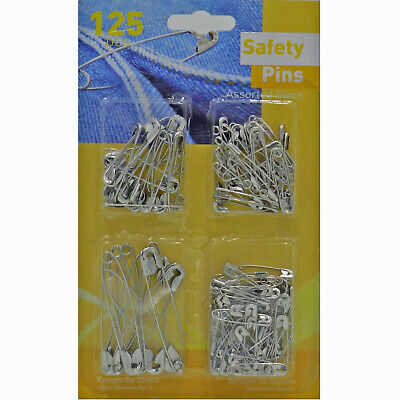 125 SilverMetal Safety Pins Assorted Sizes Sewing Costume Craft Wedding Dress