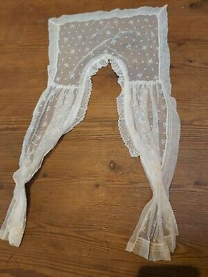Antique Shawl Collar Victorian  Lace Embroidery Tulle Cream Vintage