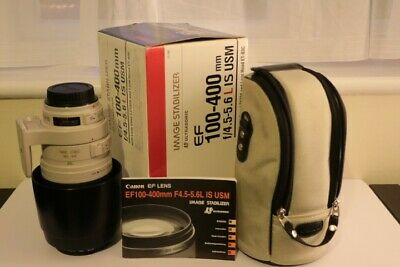 Canon EF 100-400mm F4.5-5.6 L IS USM zoom lens w. hood, box, case & 2 filters