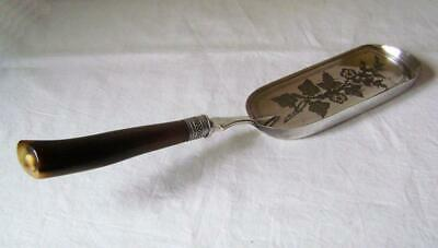 Fine  Vintage Silver Plated Table Crumb Tray with Cattle Horn Handle