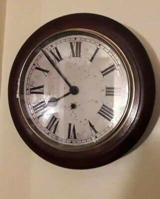 Antique Mahogany Station wall clock Working Order