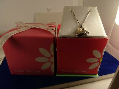 D For Diamond Heart Pearl Flower Girl/Bridesmaid Silver Pendant Chainboxed Girls