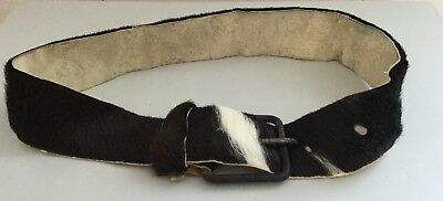 Vintage 1950's Genuine Hair-on-Hide Cowhide Belt Size Small 28-30""