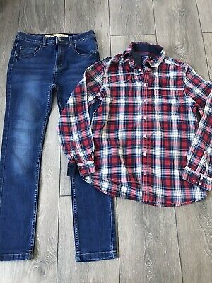 Boys Skinny Jeans And Next Checked Shirt Outfit Age 11 /12 Years