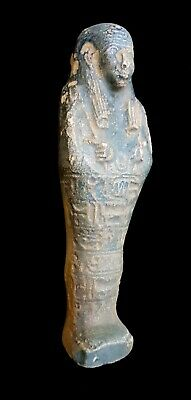 Shabti Egypt Faience Ushabti Ancient Antique Statue W/T Hieroglyphs 450 BC