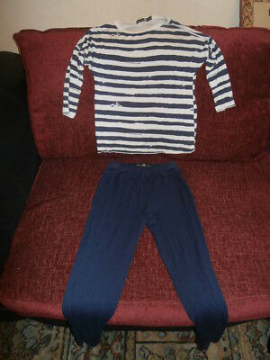 Boohoo Kids - 2 Piece Blue and White Top and Leggings Outfit - Age 9 - 10 Years
