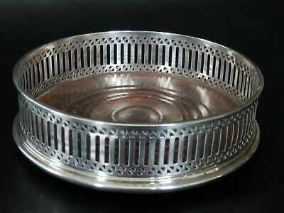 Rare Sterling Solid Silver Wine Coaster With Mahogany Base, London, No Reserve
