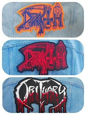 OBITUARY Blood Drip Logo Death Iron On Embroidered Patch #1098