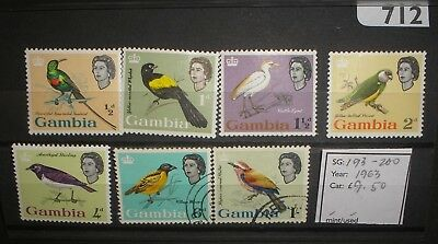 Gambia QEII 1963 Birds mint/used values to 1/-.  Cat: £9.50